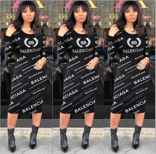 Vestidos de marca de impresión de letras Ringer vestido de la túnica para la Mujer 2020 de verano de manga corta vestidos de Streetwear medio de la manga del vestido ocasional
