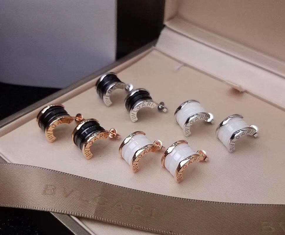 New arrival 316L stainless steel brand name stud earring with black or white creamic for women earring jewelry gift free shipping PS6767