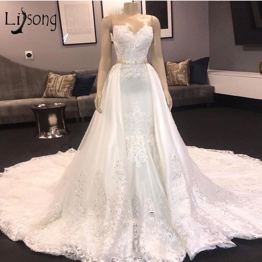Luxus-wulstige Spitze Brautkleider mit abnehmbarem Zug-Schatz-Nixe Plus Size Spitze Appliqued Open Back Brautkleider