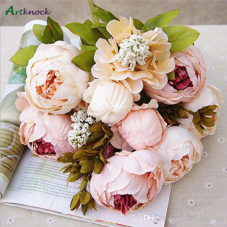 اصطناعية العرسان باقة زهور الفاوانيا وهمية محاكاة زهرة للحصول على حفل زفاف ديكور المنزل التصوير الدعائم الطراز الأوروبي