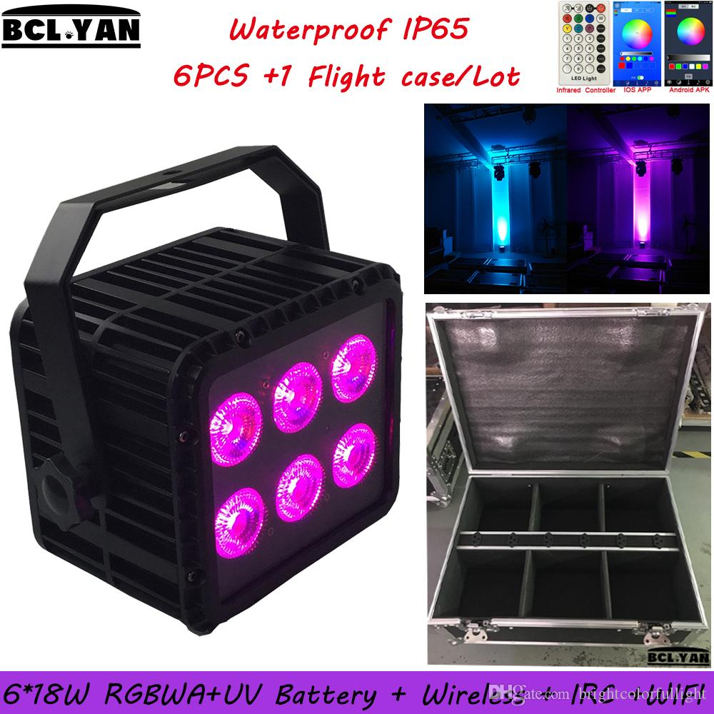 2019 NEW Waterproof led battery stage light WIFI & IR remote control led wireless dmx par can 6*18w RGBWAUV 6 IN 1 6XLOT