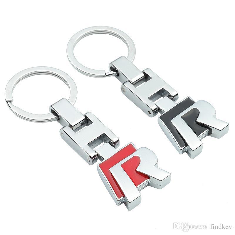 Fashoinal Metal Popular H R design Car Black Red Keyfob Car Keyring Keychain Key Chain Ring Men Business Style For Volkswagen golf scirocco