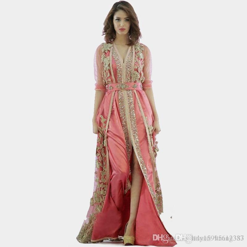 ثوب وردي المغرب تركيا الجلباب 2019 جديد جودة عالية ملابس طويلة الأكمام النسيج في دبي الجلباب فساتين السهرة الإسلامية 238