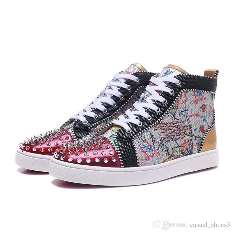 Fashion White Rhinetone Crystal Genuine Leather for men women Red bottom Suit sneakers Causal Shoes leisure trainer footwear l1