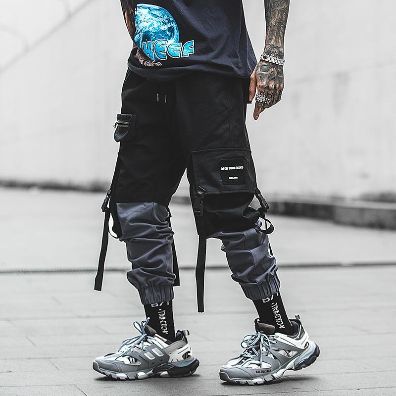 Pachwork Cotton Cargo Pants 2020 Streetwear 힙합 리본 Joggers 바지 남성 일본식 블랙 캐주얼 트랙 바지 패션