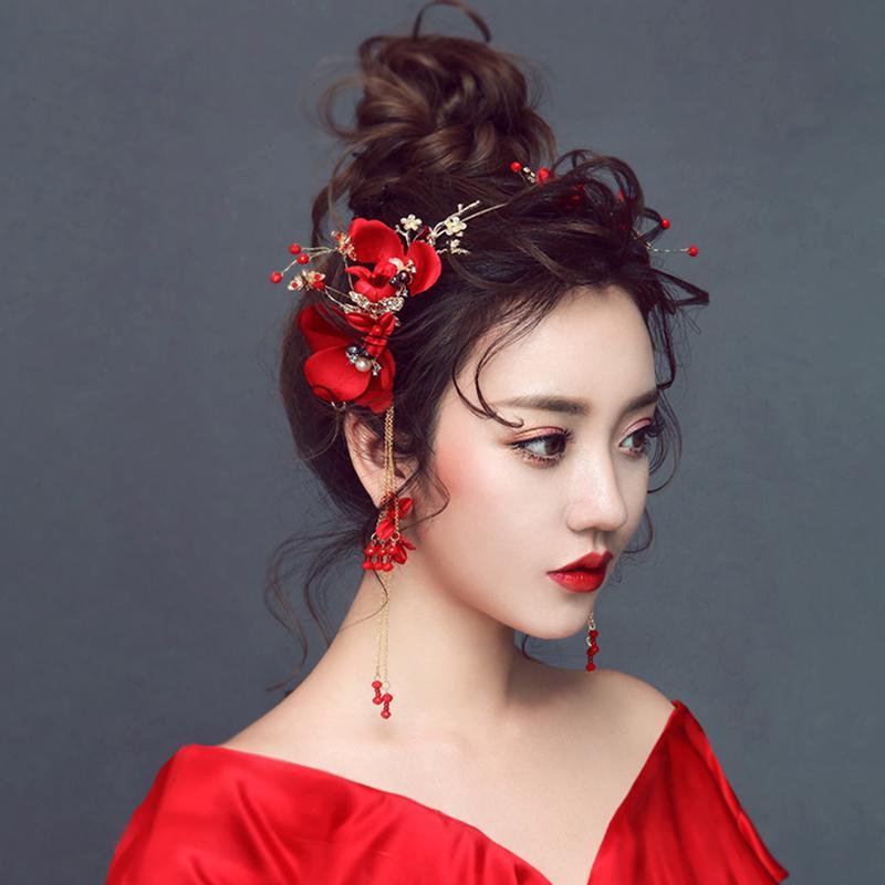 Nouveau Mariage Rouge Rose Fleur Couronnes Pour Les Femmes De Mariage Cristal Diadèmes Et Boucles D'oreilles Vintage Chinois De Cheveux De Mariage Accessoires Ml081 Y19051302