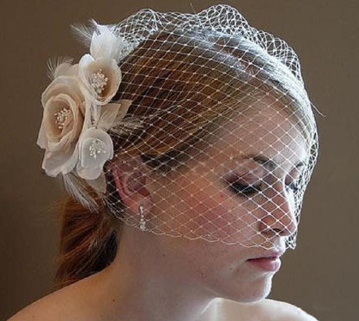 Vendita calda Fiori Veli da sposa Birdcage 2020 Accessori per matrimoni dei capelli della sposa Donne Blusher Veils per occasione speciale