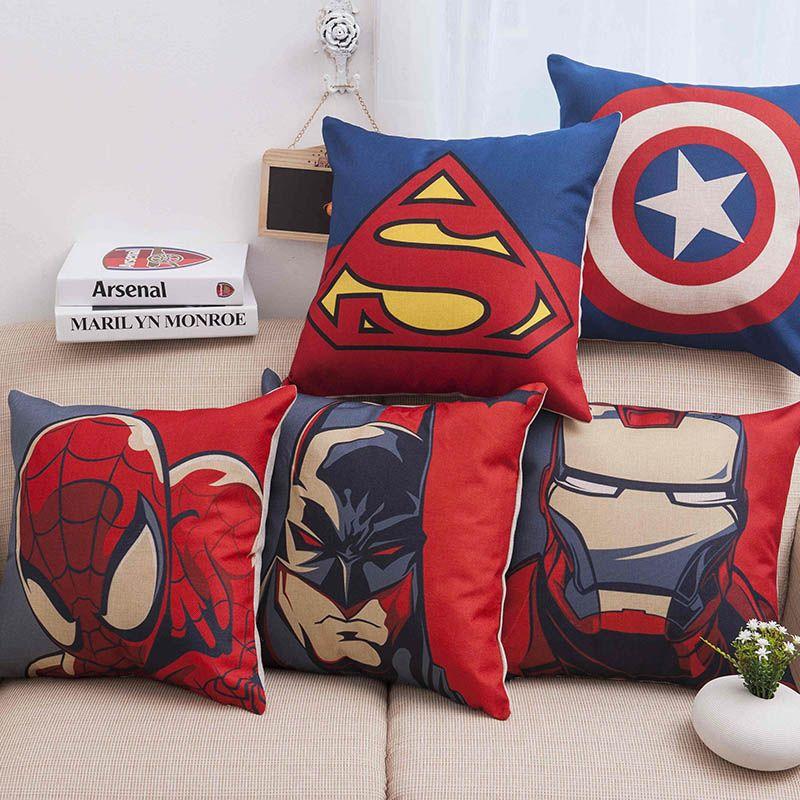 Super Herói Super homem homem De Ferro Homem Aranha Capas de Almofada De Linho Grosso de Algodão Travesseiro Cobre Sofá Cadeira Decoração