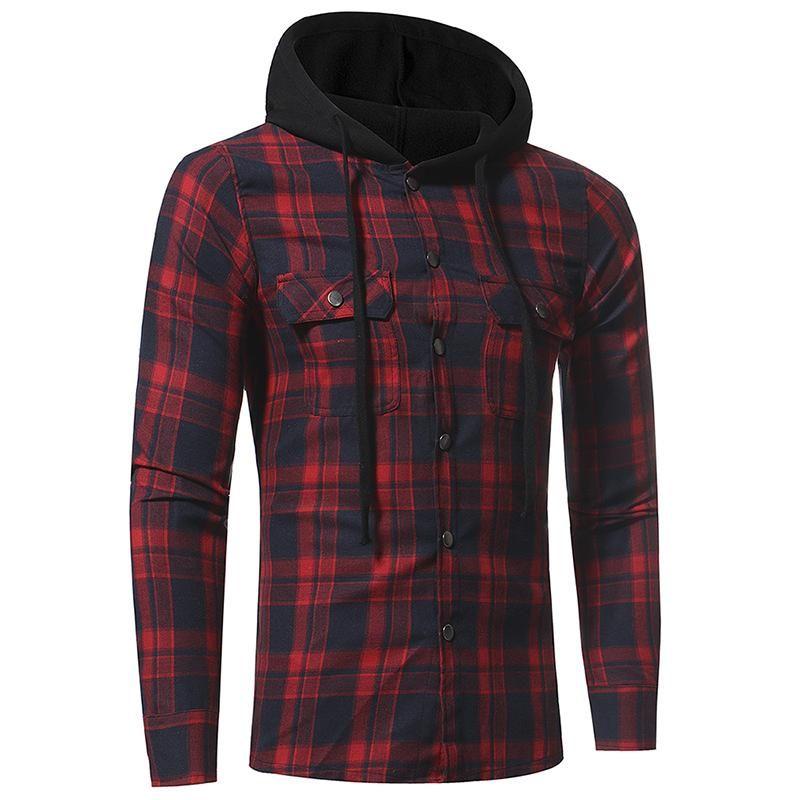 الرجال عادية منقوش طباعة قميص مقنع واحدة اعتلى قمصان القمم الخريف الربيع بأكمام طويلة