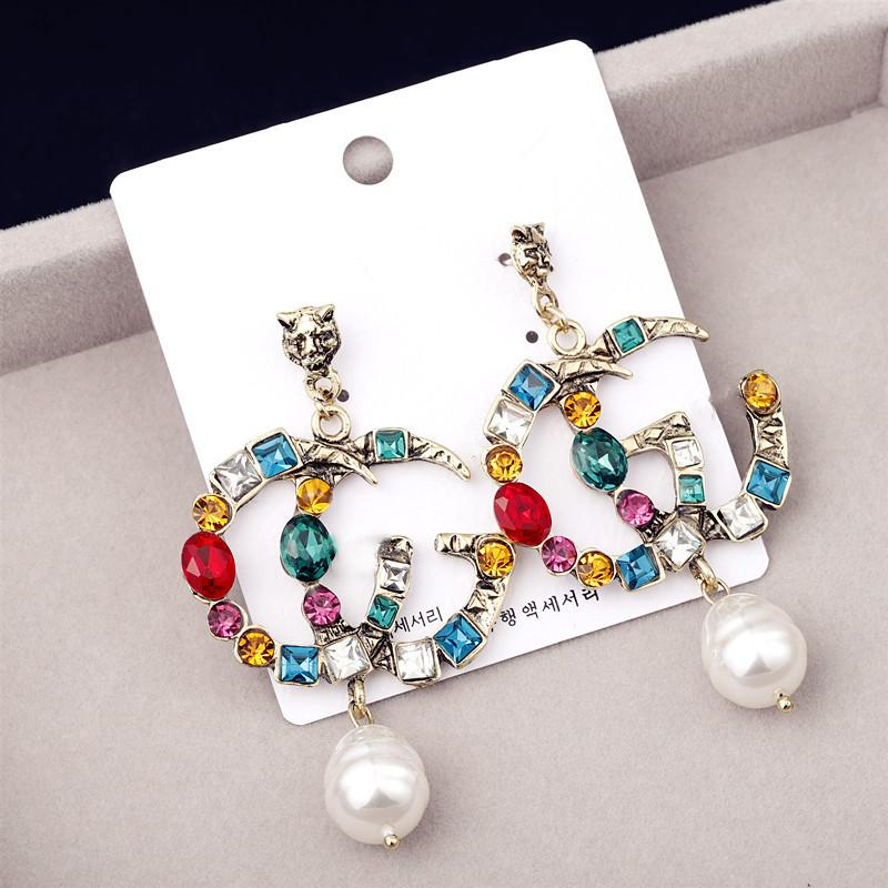 New Pearl orecchini strass colorati 925 pin orecchini d'argento FF G lettera piuma mix cigno all'ingrosso di modo dei monili DHL