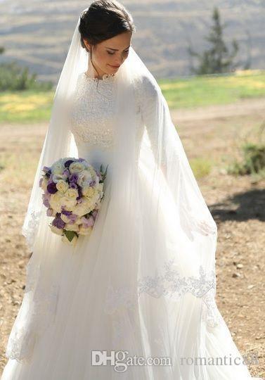 2019 мусульманская свадебные платья высокого шеи Половина рукава Аппликация атласная Тюль Длина пола Модест Свадебные платья Свадебные платья