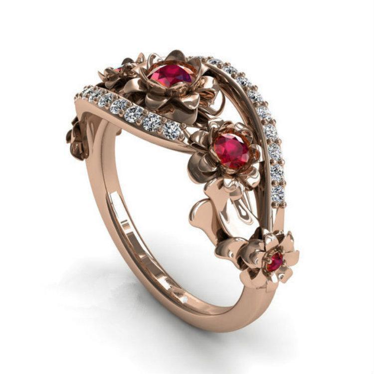New Zirocn marqueté Rose Ring Cross Border Girl Fashion gros anneaux Bagues de femmes Bijoux anniversaire de mariage Anneaux