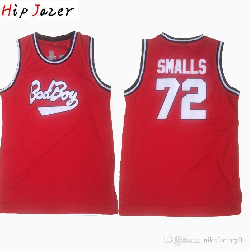 Mens Biggie Smalls 저지 악명 높은 스티치 배드 보이 농구 저지 # 72 Biggie Smalls Stitched Hip Hop Basketball Shirts