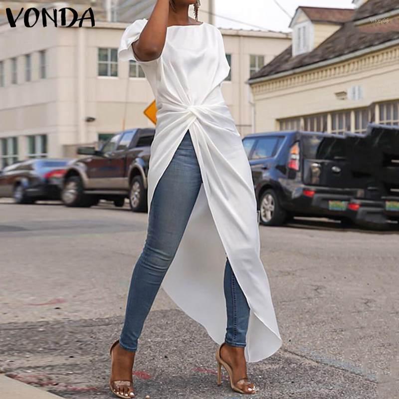 VONDA S-5XL Tops été femme Chemisier sexy de Split Hem AsymmetricalParty Chemisier Casual vrac longues Chemises Femme Blusa Tunic1