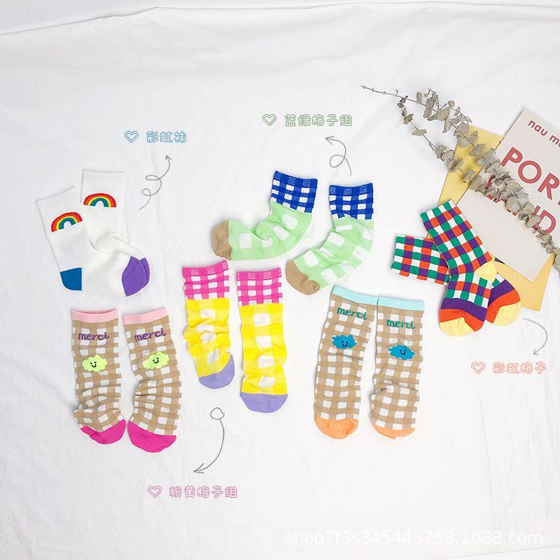 ZMHYAOKE 2020 Sommer Klein Kinder Socken mittlere Rohr Gitter Rainbow Color Matching Cotton Newborn Socken Baby-Kleidung