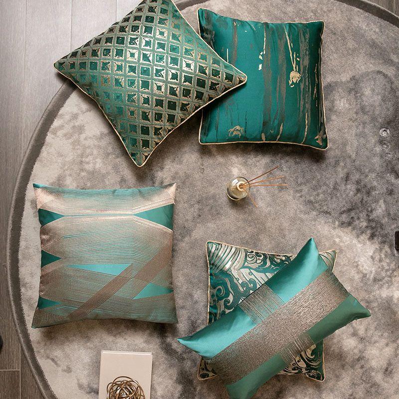 Сатин жаккардовый наволочки 18 * 18 дюймов Luxury Геометрическая абстракция наволочка с молнией Декоративное Зеленый Тело Couch наволочки