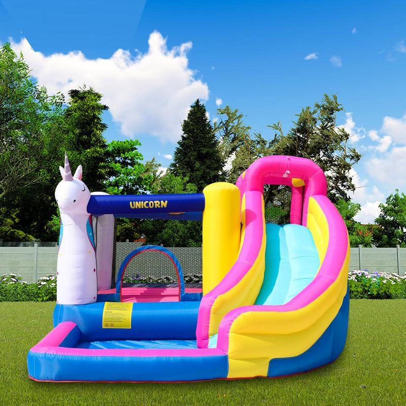Unicorn Inflatable Water Slide With Pool Inflatable Ball Pool Slide Toss Game For Kids Unicorn Combo With Ball Pit