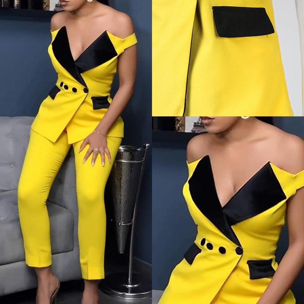 Yellow Mother of the Bride Suits Off Shoulder 2 Pieces Women Prom Evening Formal Wear Tuxedos Blazer For Wedding(Jacket+Pants)