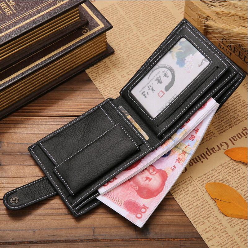 Couro Fino carteira dos homens de Moda de Nova Cartão de Crédito ID Zip Coin Purse Carteira Bolsa de Dinheiro