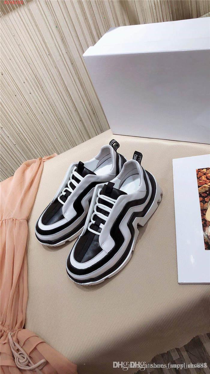 Die neueste Frauen Farbabmusterungssysteme Sneaker Low-Top Sneaker Höhe Schuhe mit Kombination von Sohle mit Kasten Erhöhung 35-41