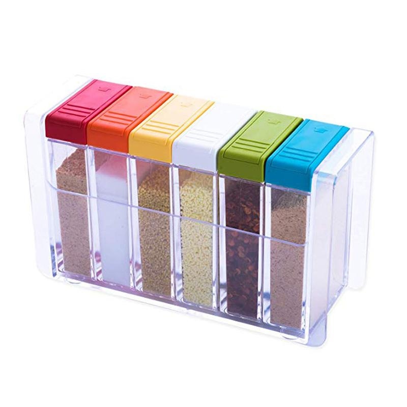 New Set of 6 Spice Shaker Seasoning Bottle Jar Condiment Storage Container Dispenser with Tray for Salt Sugar Cruet Pepper