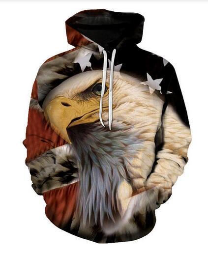 Nouveau Mode Hoodies Eagle Drapeau Américain 3D Imprimer Hommes Femmes Sport Sweat Designer À Capuche Pull À Manches Longues Streetwear LMS095