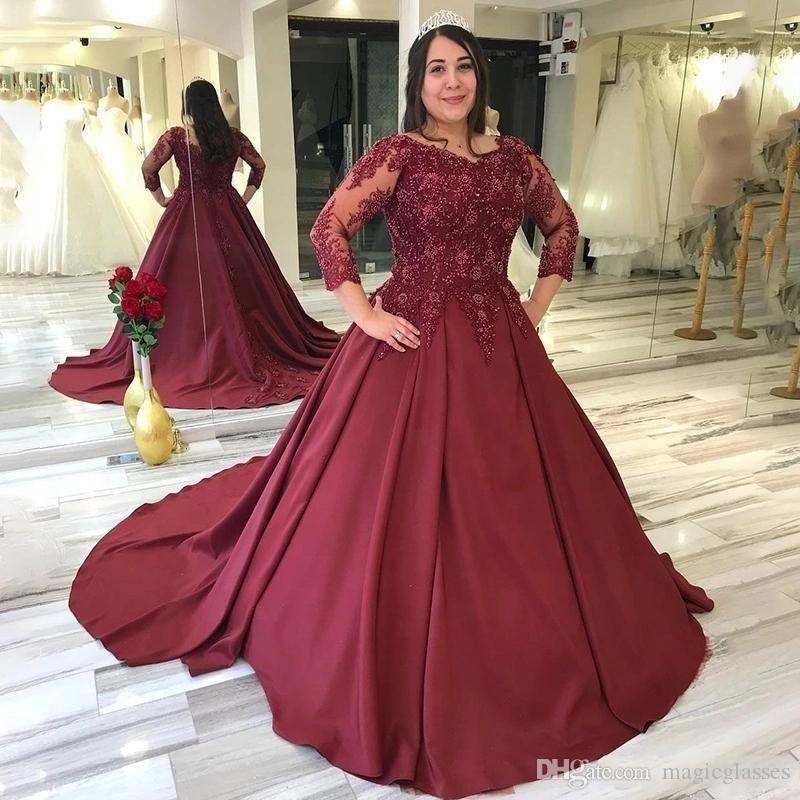 2020 Plus Size Burgundy A Line Evening Dresses Lace Applique 3/4 Sleeves Satin Formal Dress Evening Gowns Vestido de fiesta robes de soirée