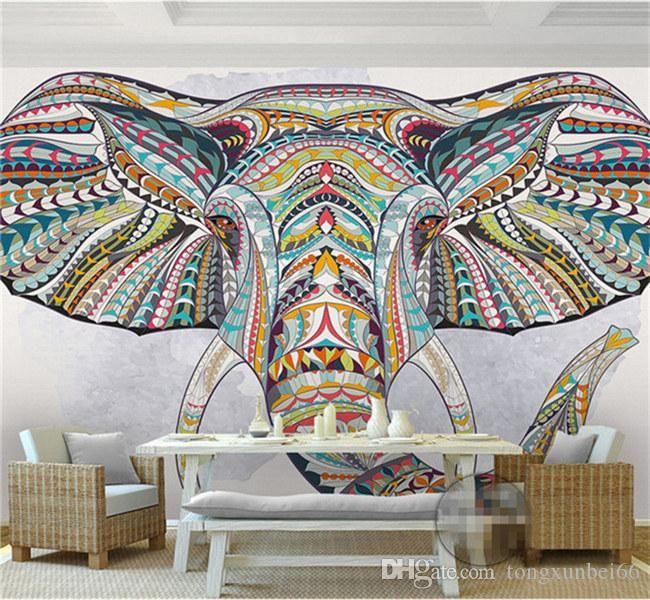 Wall Paper personalizzato 3D Photo Animal Elephant Foto Murale 3D personalizzato per soggiorno tv Backsplash Minon sfondi Home Art parete decorativo