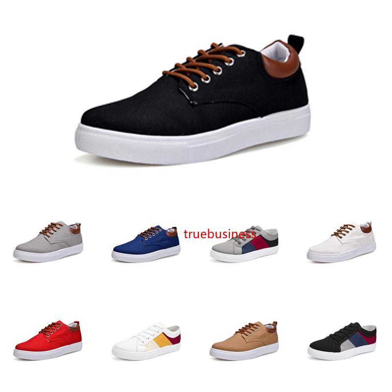 Uomo Scarpe No-Brand Canvas Spotrs casual scarpe da ginnastica bianche scarpe nere nuovo stile Rosso Grigio Khaki Blu Moda 211