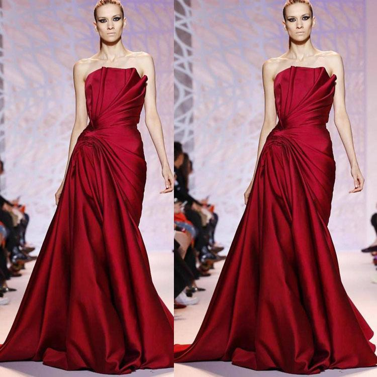Zuhair Murad Dark Red Evening Dresses Strapless Pleats Ruffles Floor Length Formal Dress Prom Gowns Red Carpet Runway Evening Gowns