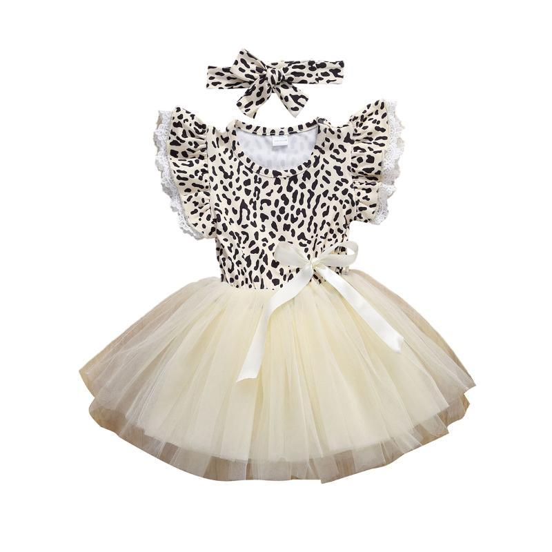 Robes de fille 2021 Toddler Baby Girl Fashion Fashion Léopard Robe d'impression Enfants Skateur à manches courtes Patinée plissée Sundress Princess Party Outfit