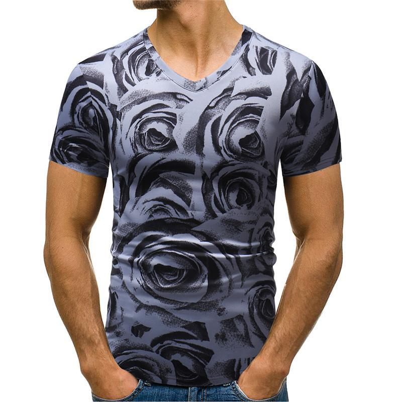 Çiçek Baskı Erkek Tasarımcı tişörtleri Yaz Casual Slim Short Sleeve V Yaka Kazak Tshirts Günlük Moda Erkek Tees