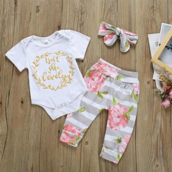 2020 Bébé fille Romper Vêtements Costumes Nouveau-né enfants Designer Trois pièces Deux Marque Imprimer Romper + Pantalons Babys Summer Vêtements de vêtements