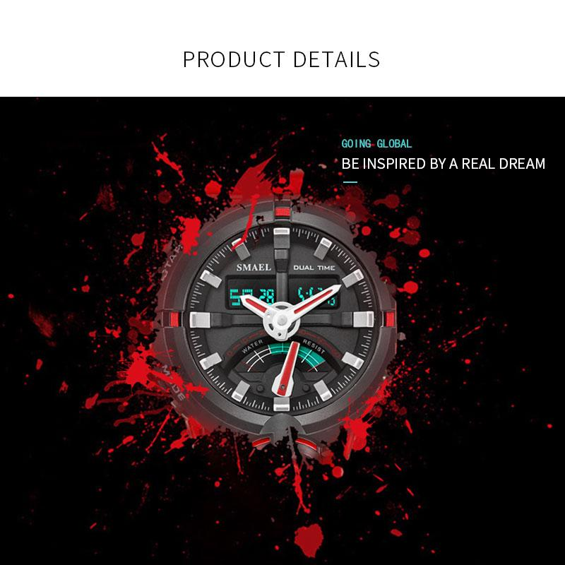 SMAEL Elektronik İzle Smael Marka Erkek Dijital Spor Saatleri Erkek Saat Çift Ekran 1637 Su geçirmez Dalış Beyaz Relogio