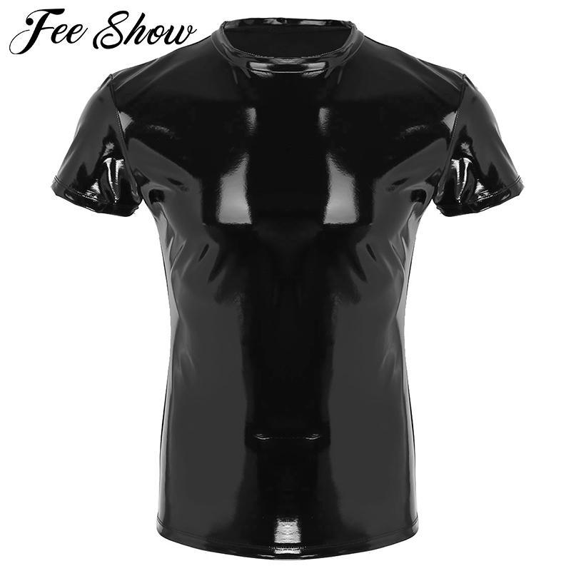 PU cuir T-shirts Hommes Sexy fitness Hauts T-shirt Gay T-shirts pour hommes étape Performance Costume O-Neck Sexy Men Muscle T-shirt serré