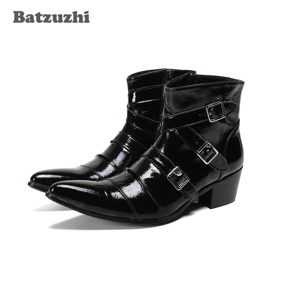 Morbida pelle nera stivali a punta le dita dei piedi Batzuzhi occidentale del cowboy Uomo Stivaletti Uomini Buckles Moto Maschio Stivali Botas Hombre