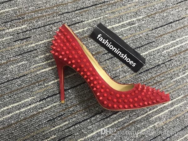 di lusso tempestata rosso in basso a punta Pompe sesso suola tacchi alti picchi scarpe da sposa rosso 35-42 8cm 10cm 12cm camoscio scarpe di vestito dal partito personalizzato