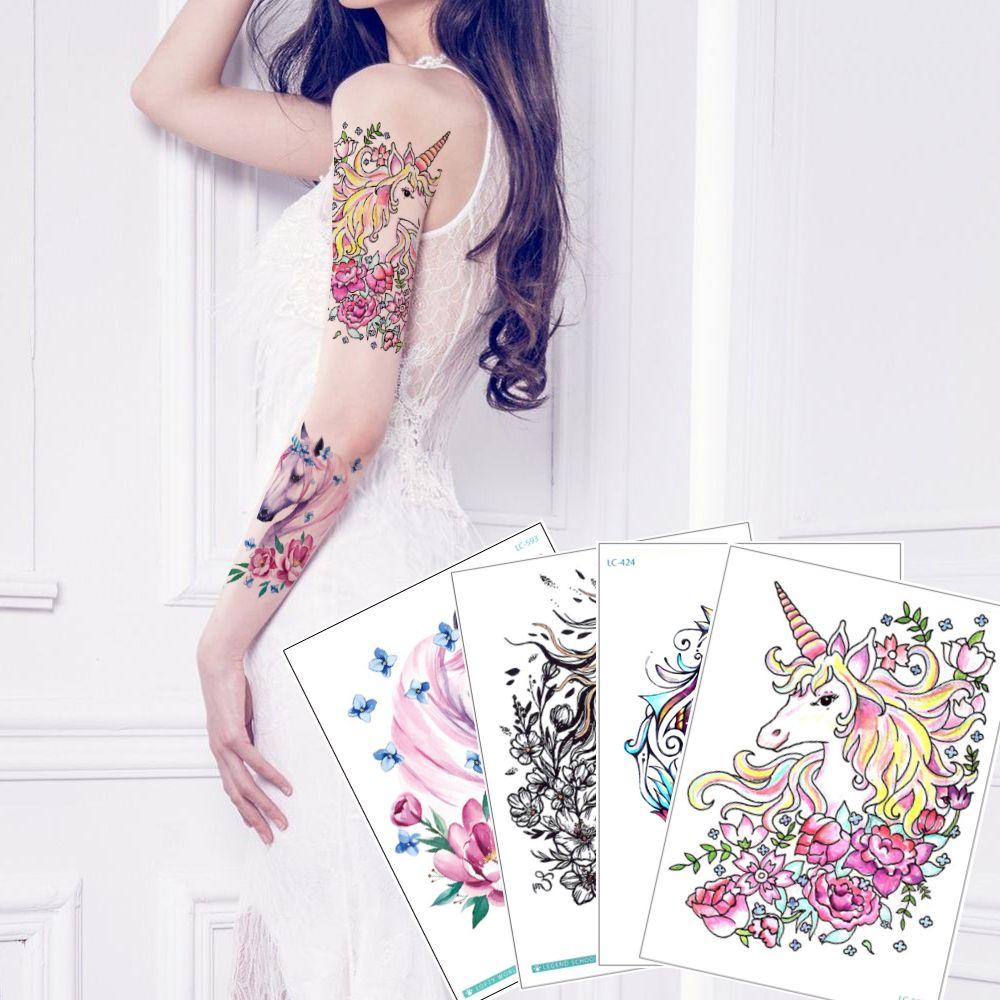 Cute Unicorn Temporary Tattoo Design for Woman Man Kid Horse Flower Butterfly Decal Body Arm Leg Chest Back Art Tattoo Sticker Lovely Summer