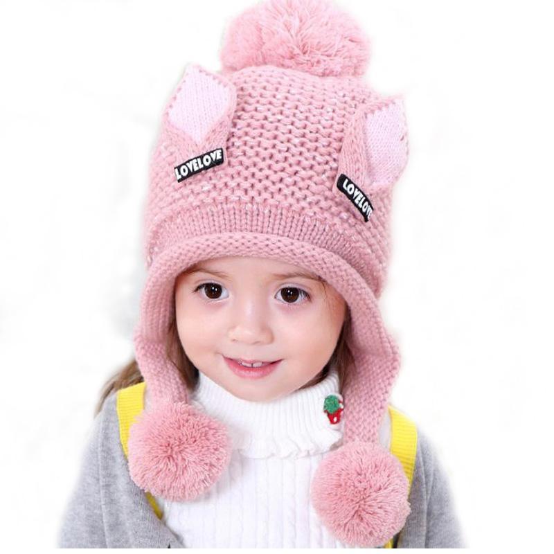 Doitbest 2-6 Y Plus velvet boy Beanies Cat ears wool solid Winter Baby Child knitted hat kids girls Earflap Gorras