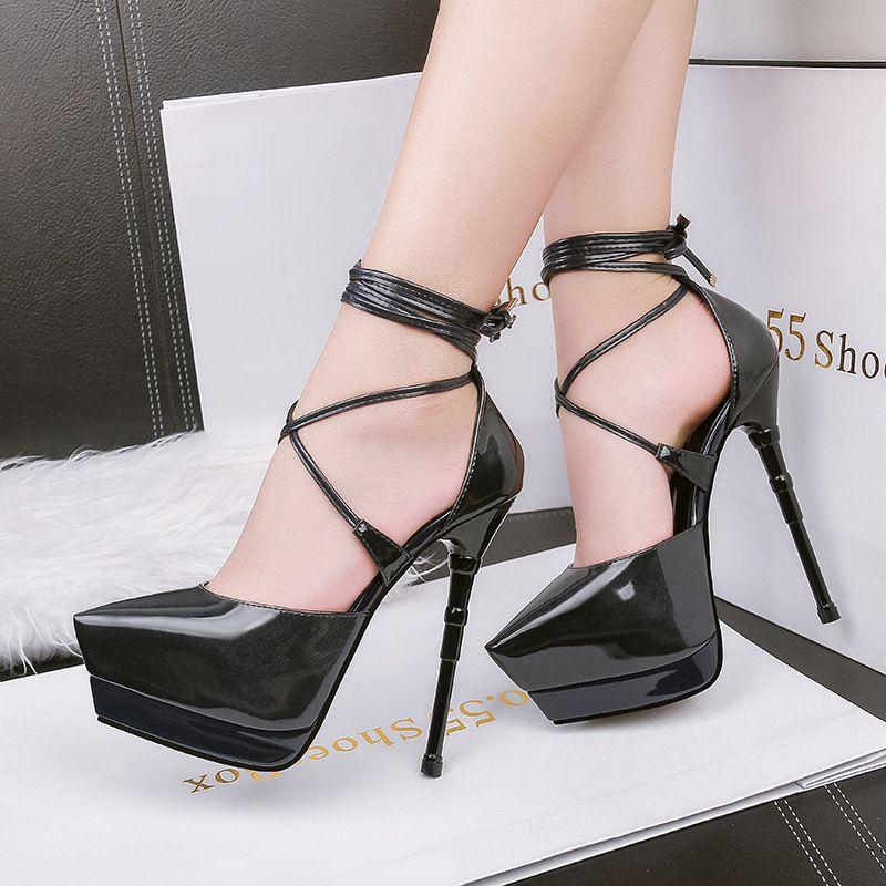 Femmes Sexy Ankle Strap Stiletto Plate-forme Pompes Super Talons Parti Robe De Mariée Chaussures Sandales À Bretelles Lady Pompes