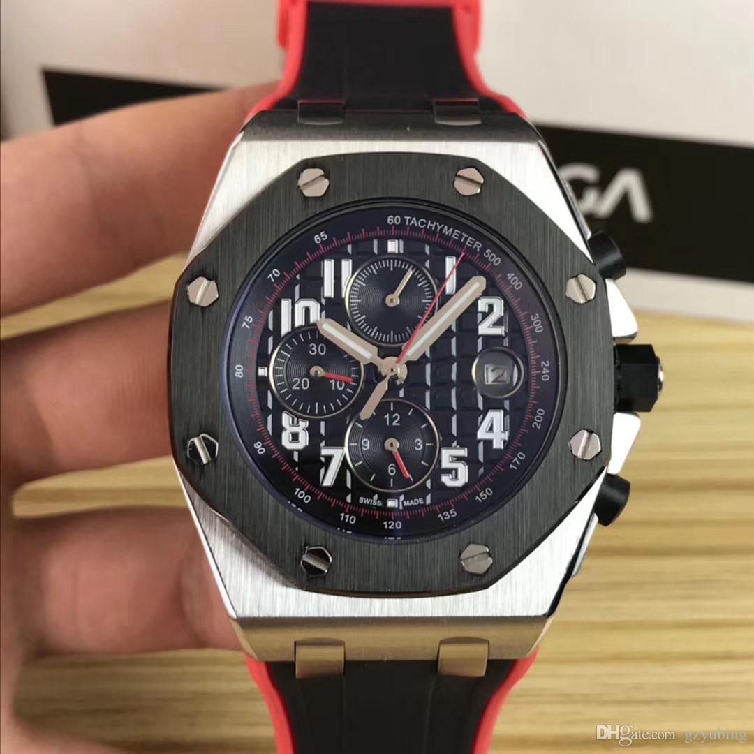 Melhores Strap Qualidade de pulso Offshore Aços Inoxidáveis mecânico automático Borracha homens esporte Mens Watch Relógios