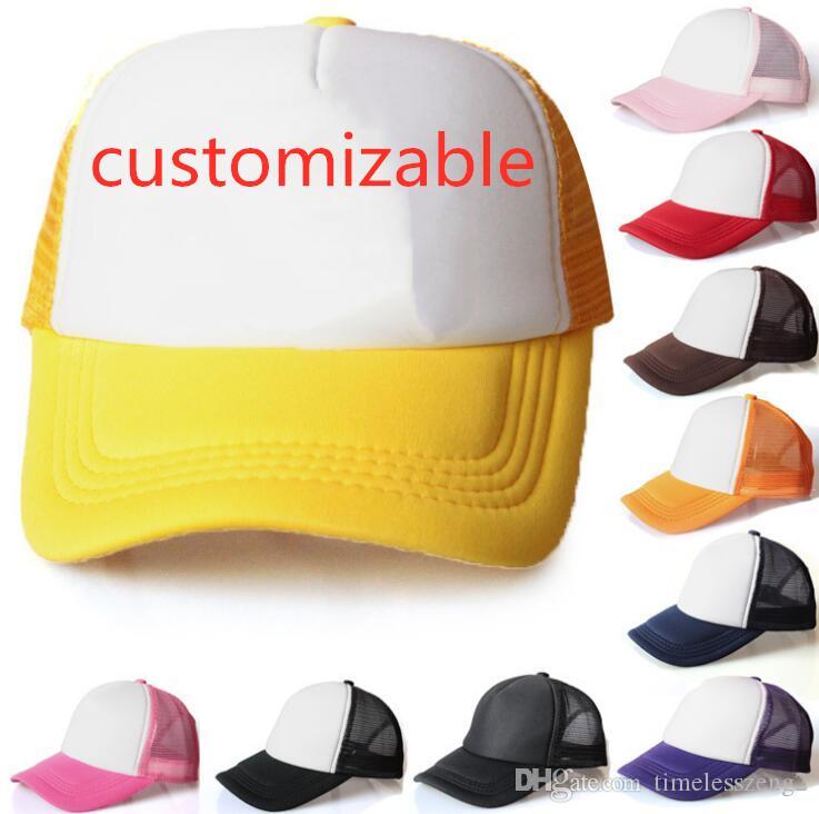 20 개 색상 어린이 트럭 운전사 모자 성인 메쉬 조절 야구 모자 스냅 백 모자는 주문 제작을 수락 캡