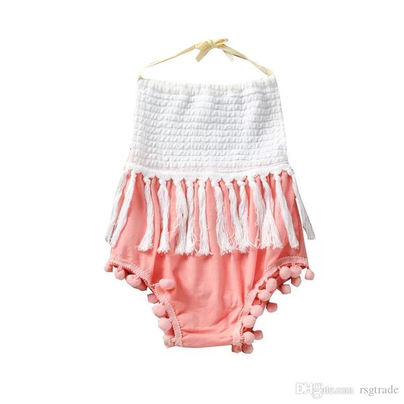 Dhl gratuito bambino neonate nappa pagliaccetti maniche senza maniche increspature palla bianco rosa neonate tute collo quadrato tutine 0-2 t