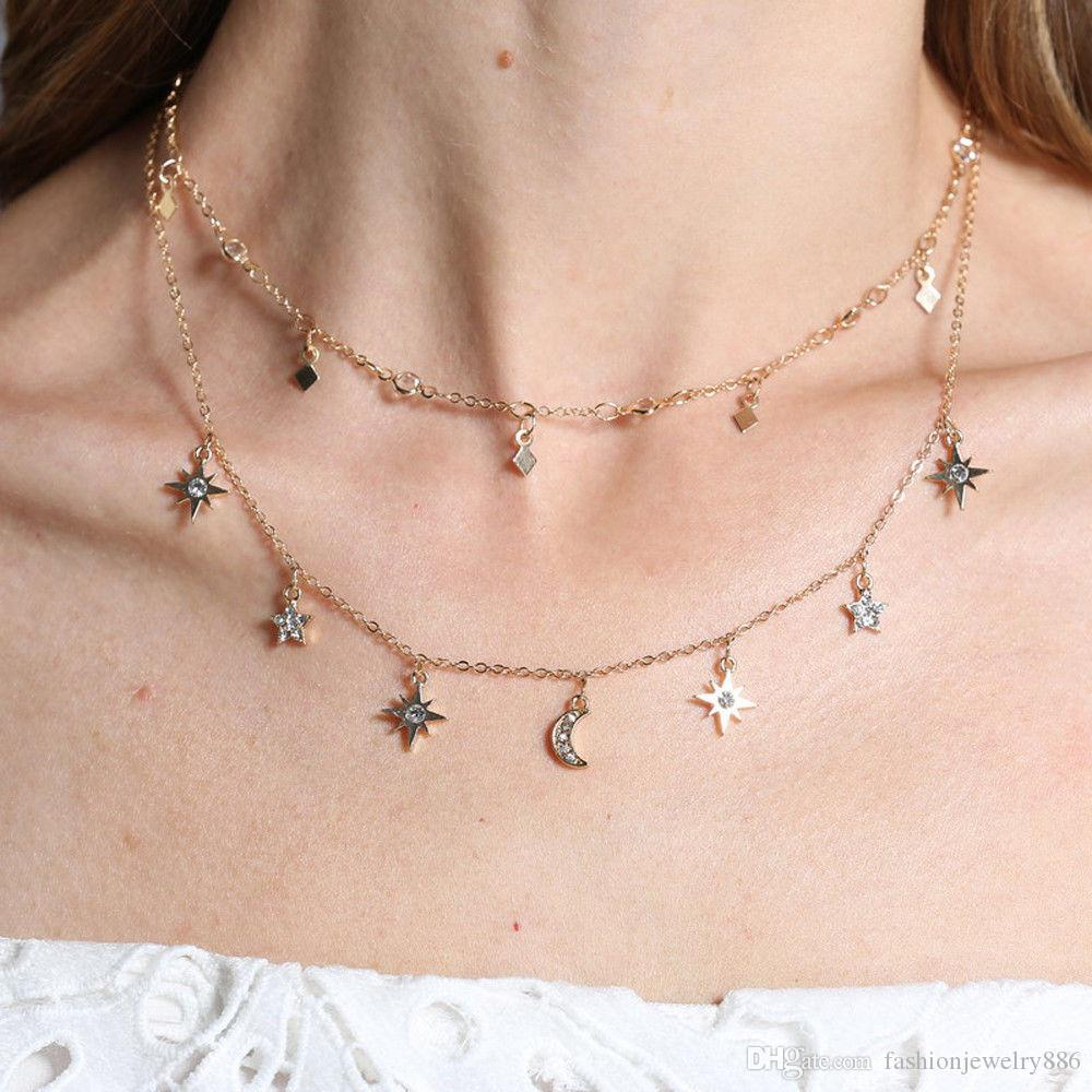Multilayer Choker Pendant Necklace Star Moon Chain Gold Women Summer Jewelry  W