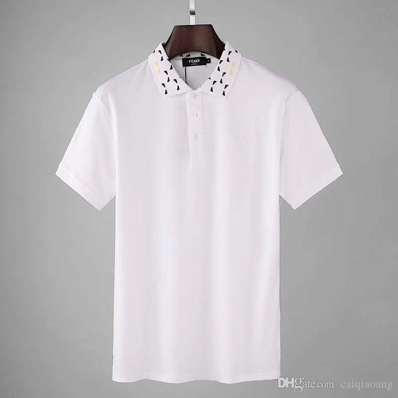 bordado verano de la nueva camiseta de la luz de perlas masculina solapa marca de marea personalidad monstruo ojo de malla POLO delgado tendencia masculina
