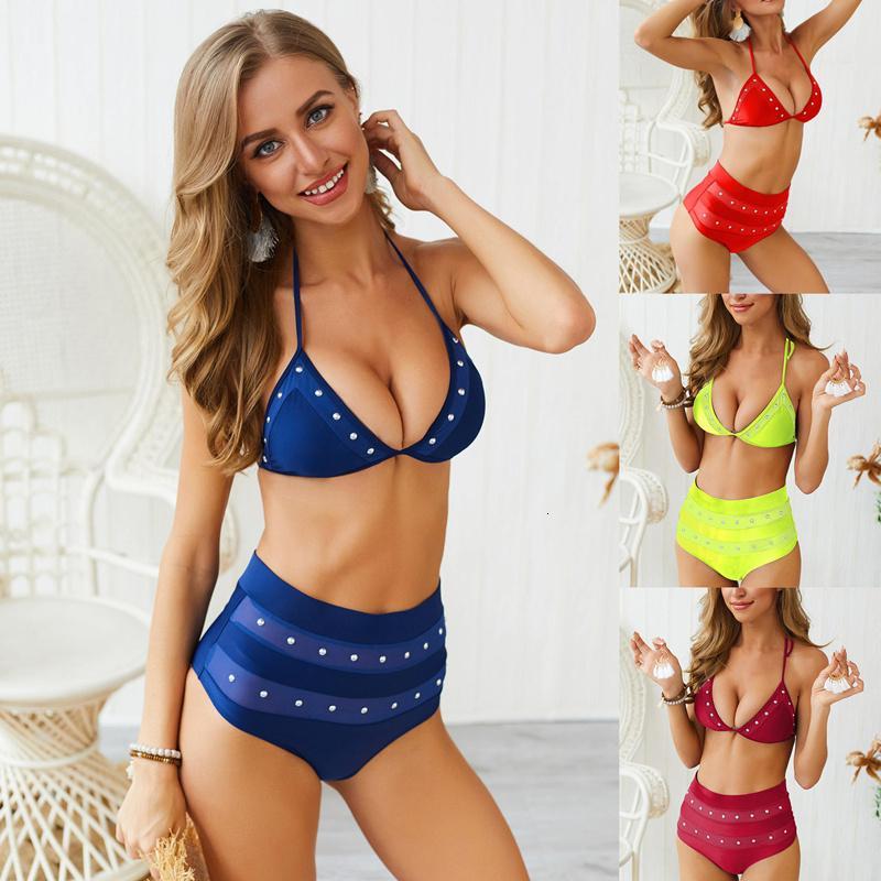 Seksi Katı Bikini Kadınlar Kristal Bordürlü Bikini Seti Yeni Mayo Mayo Bandaj Mayo Yaz Beachwear Kadın biquini
