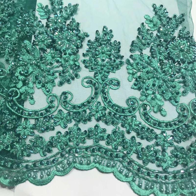 5 yard / lot 2019 Neueste Französisch Afrikanisches Spitzegewebe Hohe Qualität Perlen Besticktem Tüll Stoff Für Hochzeit QG774