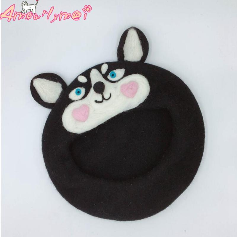 100% Wool Beret Female Winter Hats For Women Cap Japanese Style Mori Girl Kawaii Dog Husky Warm Berets Hat Female Painter Hat