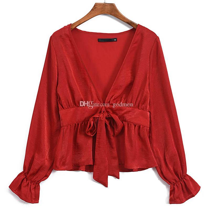 Europe And The United States Single Satin Damen-Hemd mit V-Ausschnitt und langen Ärmeln aus Lantern-Spitze Damen Kleidung Schwarz Rot