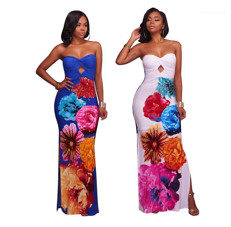 Lusso floreale stampato Prom Dresses donna Abiti partito Split maniche lunghe Abiti Moda Donna sottile sexy senza spalline